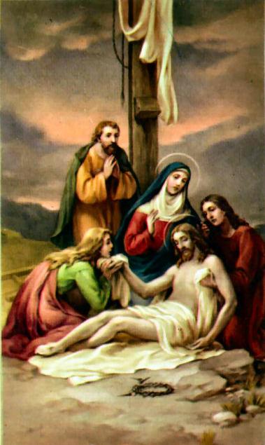 Décimotercera estación Jesús es bajado de la cruz