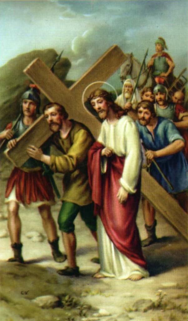Quinta Estacón El Cireneo ayuda a Jesús