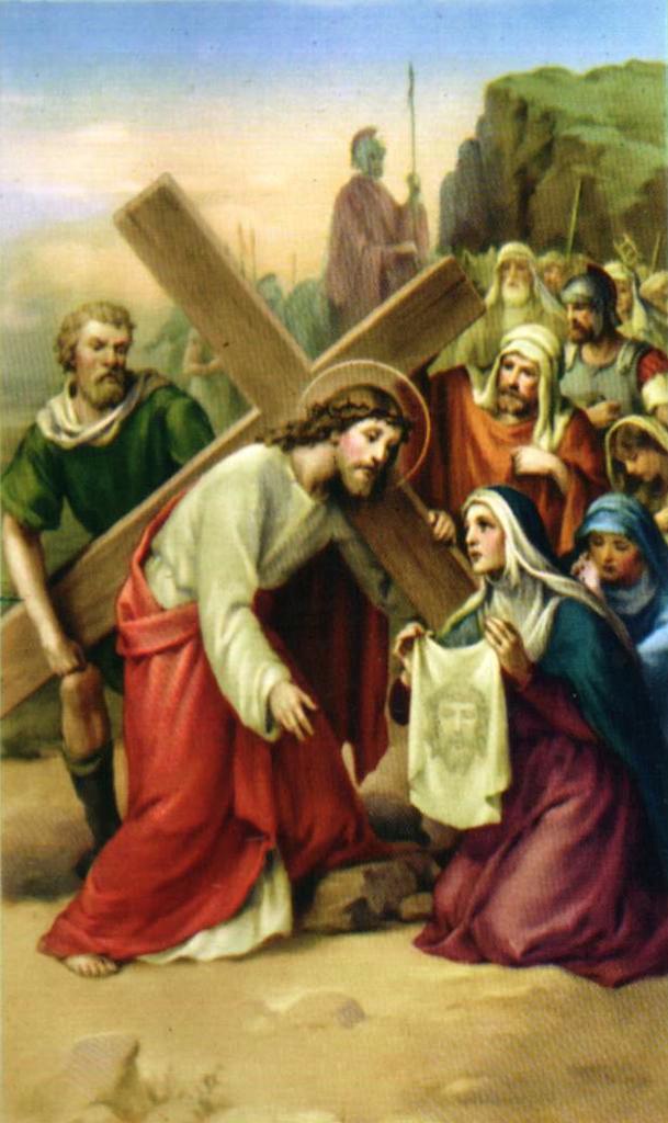Sexta estación Verónica limpia el rostro de Jesús