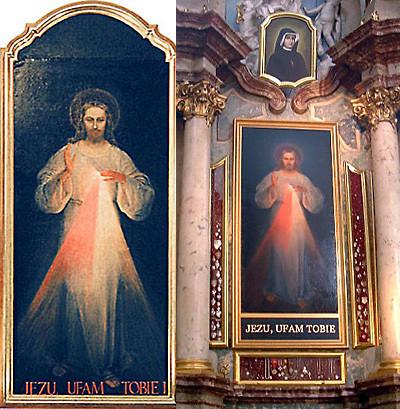 Cuadro Divinia Misericordia, antes y después de la restauración