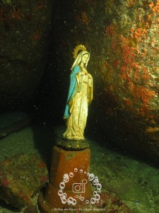 Imagen de la Virgen en el mar