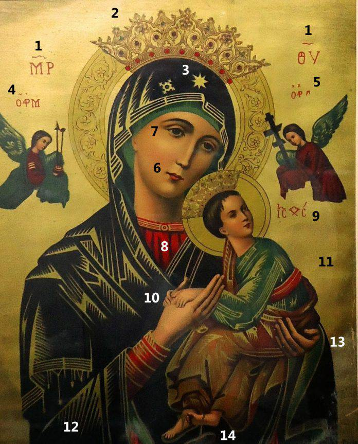 Imagen Virgen del Perpetuo Socorro con referencias