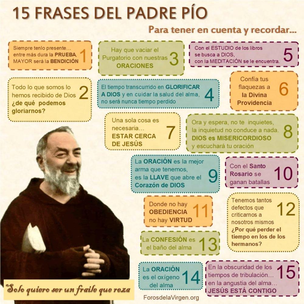 15 Excepcionales Frases Del Padre Pio Reina Del Cielo